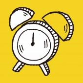 Doodle Alarm Clock — Stock Vector