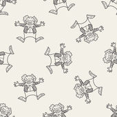 Clown doodle drawing seamless pattern background — Stock Vector
