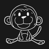 Chinese Zodiac monkey doodle drawing — Stock Vector