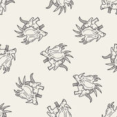 Triceratops dinosaur doodle seamless pattern background — Stock Vector