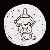 Get bear doll doodle — Stock Vector
