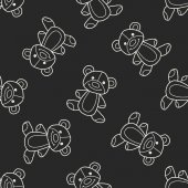 Doodle Teddy seamless pattern background — Stock Vector