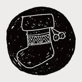 Christmas socks doodle drawing — Stock Vector