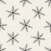 Snowflake doodle seamless pattern background — Stock Vector