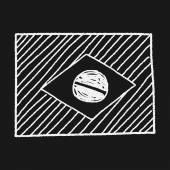 Drapeau du Brésil doodle — Vecteur