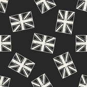 UK flag doodle seamless pattern background — Stock Vector
