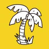 Doodle coconut tree — ストックベクタ