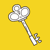 Old key doodle — Stock Vector