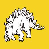 Stegosaurus dinosaur doodle — Stock Vector