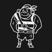 Pirate Sailor doodle — Stock Vector
