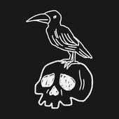 Skull doodle — Stock Vector