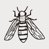Bee doodle — Stock Vector