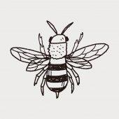 Bee doodle — Stockvektor
