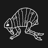 Flea doodle — Stock Vector