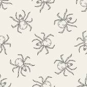 Spider doodle seamless pattern background — Stock Vector
