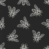 Bee doodle seamless pattern background — Stockvektor