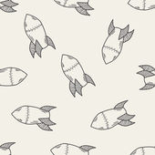 Missile doodle seamless pattern background — Stock Vector