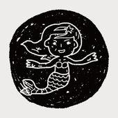 Mermaid doodle — Stock Vector
