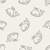 Whale doodle seamless pattern background — Vetor de Stock