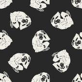 Orangutan monkey doodle seamless pattern background — Stock Vector