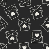 Love mail doodle seamless pattern background — Stock vektor
