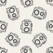 Doodle Camera seamless pattern background — ストックベクタ