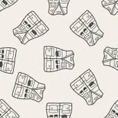 Vest doodle seamless pattern background — Stock Vector