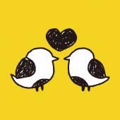Bird love doodle — Stock Vector