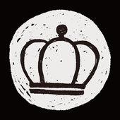 Doodle king crown — Stock Vector