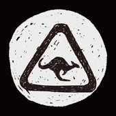 Кенгуру знак каракули — Cтоковый вектор