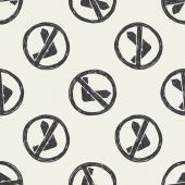 No left turn doodle seamless pattern background — Stock Vector