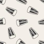 メトロノーム落書きのシームレスなパターン背景 — ストックベクタ