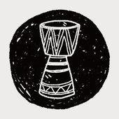 Doodle de tambor africano — Vetor de Stock