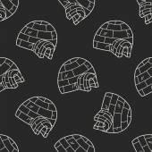 Iglú doodle vzor bezešvé pozadí — Stock vektor