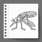 Doodle mosquito — Vector de stock