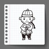 Chinese jongen doodle — Stockvector
