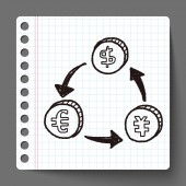 交换钱涂鸦 — 图库矢量图片