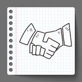Shake hands doodle — Stock Vector