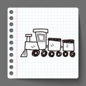 Tren de juguete doodle — Vector de stock