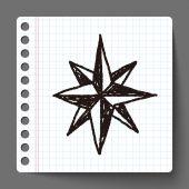 Bússola doodle estrela — Vetor de Stock