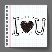 I love you doodle — Stock Vector