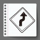 Winding Road doodle — Stock Vector
