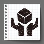 Shipping box doodle — Stock Vector