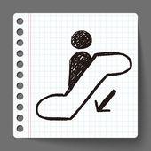 Escalator down doodle — Stock Vector