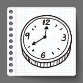 Clock doodle — Stock Vector
