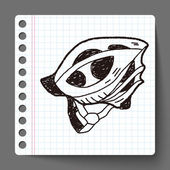 Fiets helm doodle — Stockvector
