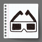 3D glassess doodle drawing — Stock Vector