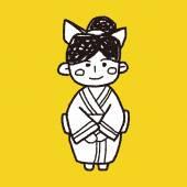 日本女人涂鸦 — 图库矢量图片