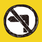 No left turn doodle — Stock Vector