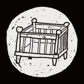 赤ちゃんベッド落書き — ストックベクタ